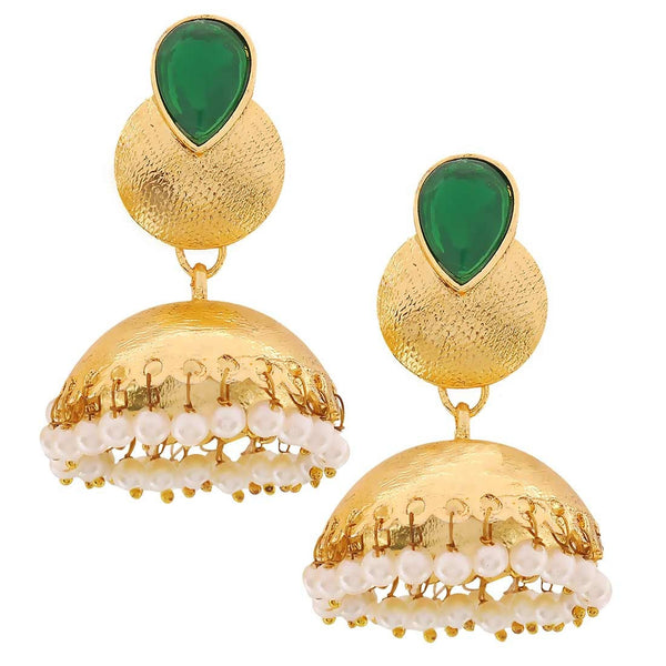 Exquisite Green White Indian Ethnic Sangeet Jhumki Earrings - MCHUJE24DC68