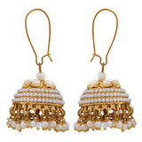 Chic White Pearl Ceremony Jhumki Earrings - MCHUJE24DC80