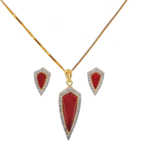 Smashing Red American Diamond College Pendant Set with Earrings - MCHUJP3DC50