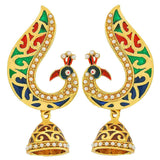 Simple Multicolour White Meenakari Festival Drop Earrings - MCHUJE24DC87