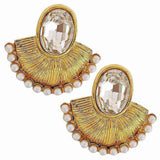 Great Gold White Crystal Reception Drop Earrings - MCHUJE3DC63