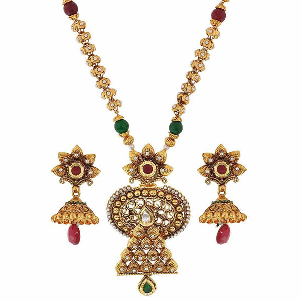 Pearl Jadau Maroon Green Kundan Wedding Necklace Set with Earrings - MCHUJN3DC65