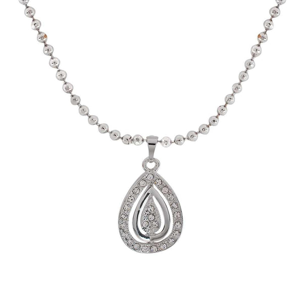 Shining Silver American Diamond Reunion Party Pendant without Earrings - MCHUJP3DC106