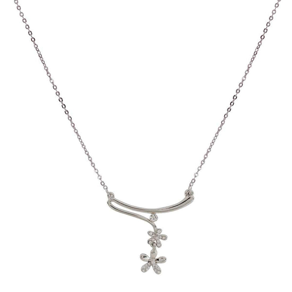 Pretty Silver American Diamond College Pendant without Earrings - MCHUJP3DC107