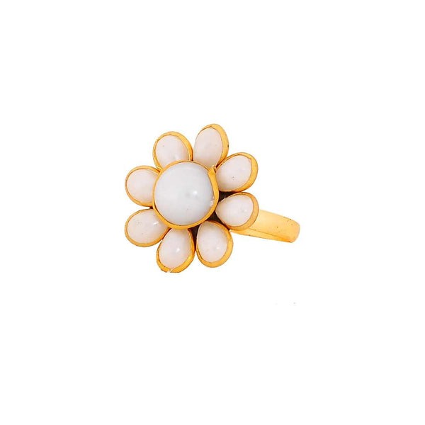 Darling White Pachhi Work Adjustable Size Reception Finger Ring - MCHUJR3DC303