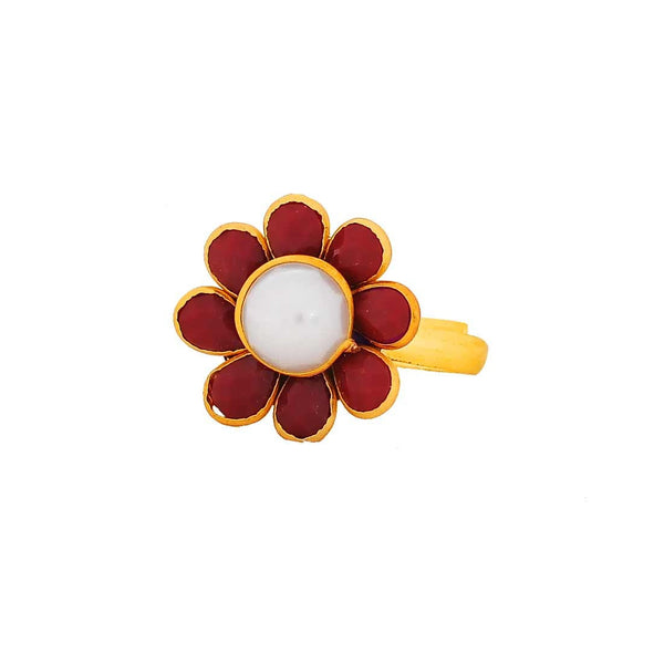 Sensual White Maroon Pachhi Work Adjustable Size Wedding Finger Ring - MCHUJR3DC305
