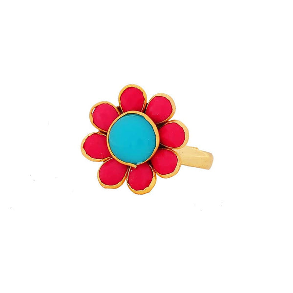 Sexy Blue Pink Pachhi Work Adjustable Size Reception Finger Ring - MCHUJR3DC308