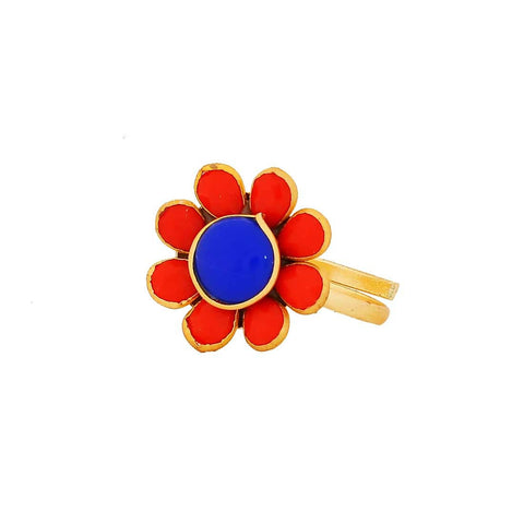 Class Blue Red Pachhi Work Adjustable Size Cocktail Finger Ring - MCHUJR3DC309