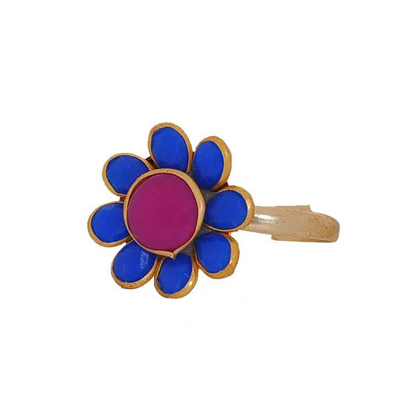 Classy Purple Blue Pachhi Work Adjustable Size Party Finger Ring - MCHUJR4JY42