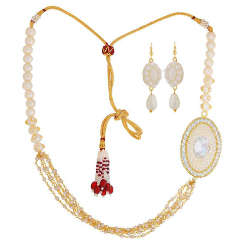 Unique White Pearl Sangeet Necklace Set with Earrings - MCHUJN4JY45