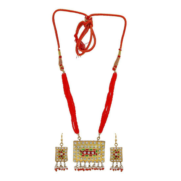 Sensual Red Green Meenakari Reception Necklace Set with Earrings - MCHUJN3DC358