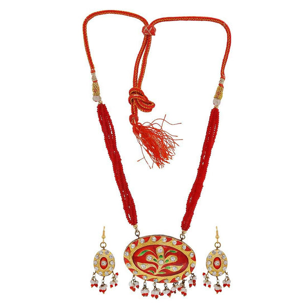 Plush Red Green Meenakari Cocktail Necklace Set with Earrings - MCHUJN3DC359
