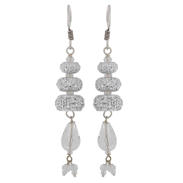 Pretty Silver Crystal Reunion Party Dangler Earrings - MCHUJE3DC372