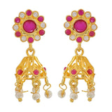 Great Pink White Designer Cocktail Jhumki Earrings - MCHUJE3DC381