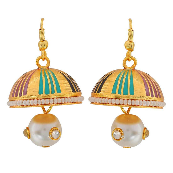 Fantastic Multicolour Meenakari Reception Jhumki Earrings - MCHUJE3DC418