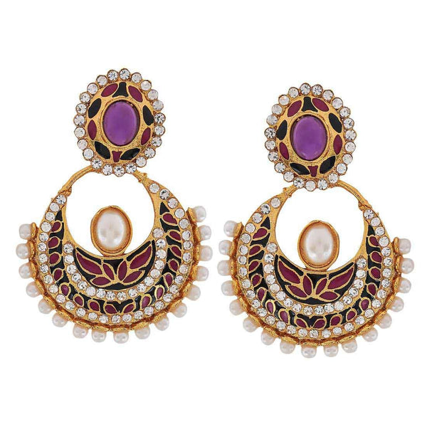 Sexy Multicolour Victorian Sangeet Ceremony Chand Bali Earrings - MCHUJE3DC679