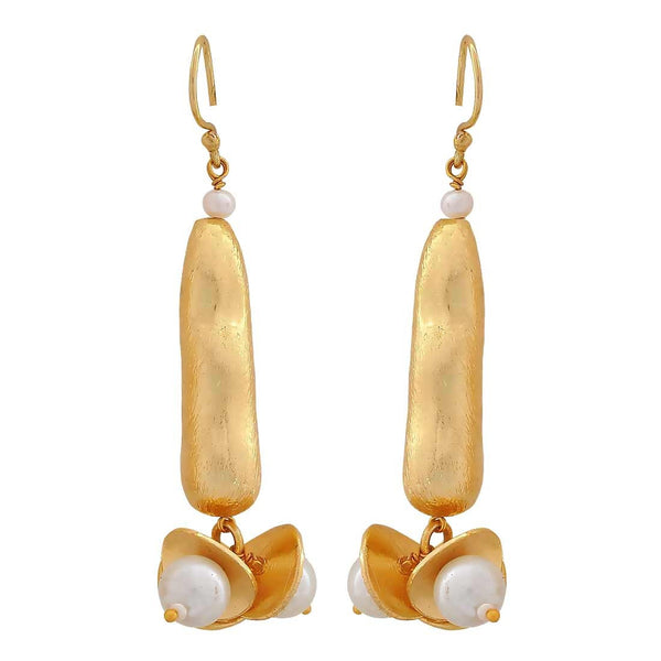Lovely Gold White Pearl Party Dangler Earrings - MCHUJE4JY65