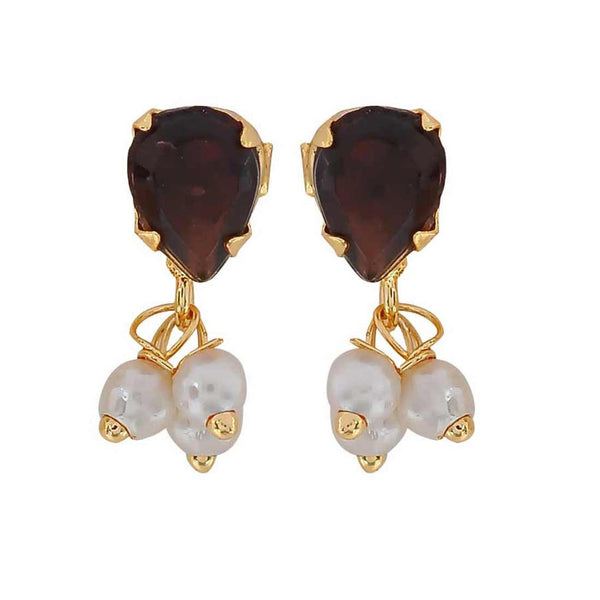 Lovable Brown White Pearl Home Stud Earrings - MCHUJE3DC779