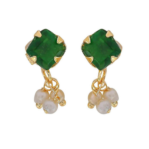 Sexy Green White Pearl Neighbour's Visit Stud Earrings - MCHUJE3DC785
