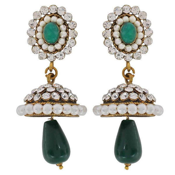 Bright Green White Victorian Cocktail Jhumki Earrings - MCHUJE3DC813