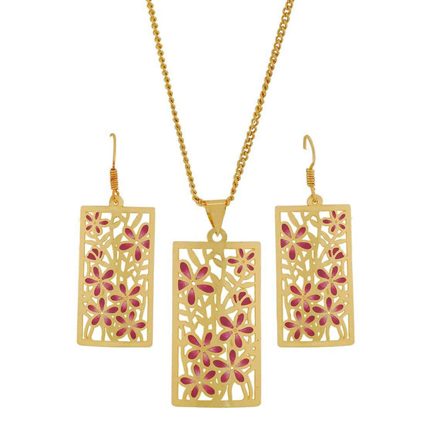 Meenakari Purple Off-White Filigree College Pendant Set with Earrings - MCHUJP3DC842
