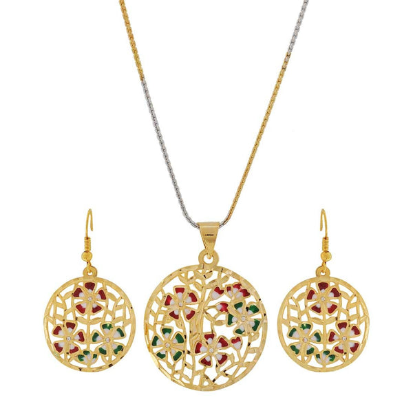 Meenakari Multicolour Filigree Wedding Pendant Set with Earrings - MCHUJP3DC853