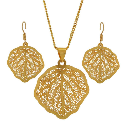 Hot Gold Filigree Sangeet Ceremony Pendant Set with Earrings - MCHUJP3DC871