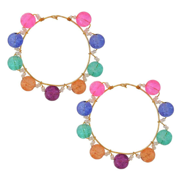 Cool Multicolour Stone Crystals Party Hoop Earrings - MCHUJE4JY72