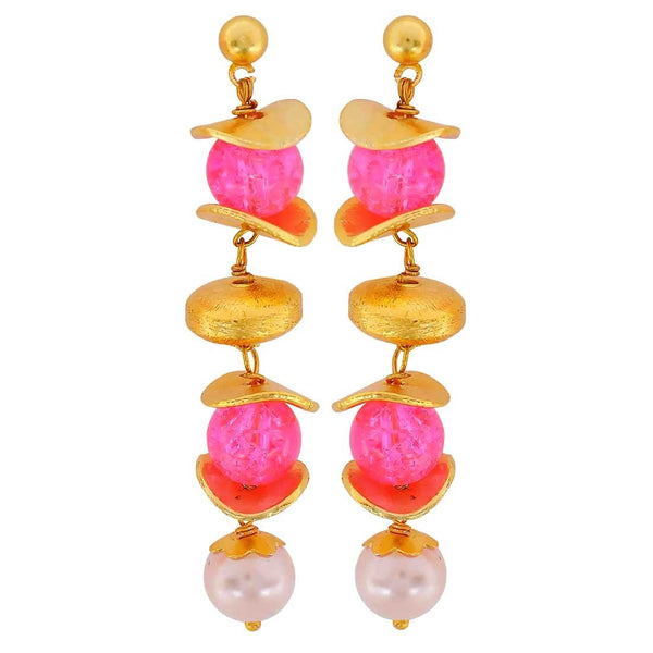 Shining Pink White Designer Cocktail Drop Earrings - MCHUJE4JY106