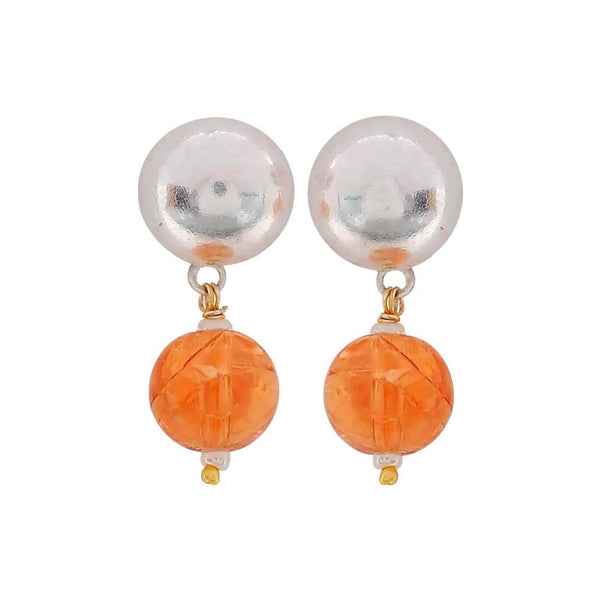 Sexy Orange Silver Stone Crystals Get-together Drop Earrings - MCHUJE4JY130