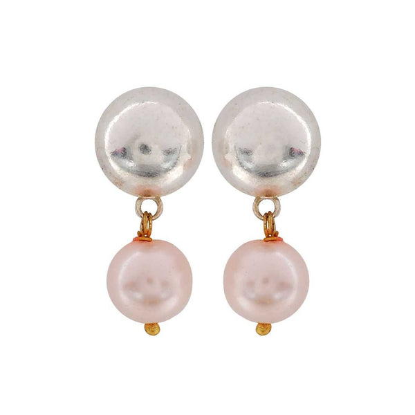 Superb Pink Silver Pearl Shopping Drop Earrings - MCHUJE4JY131