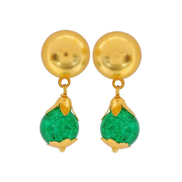 Charming Green Gold Stone Crystals Reunion Drop Earrings - MCHUJE4JY132