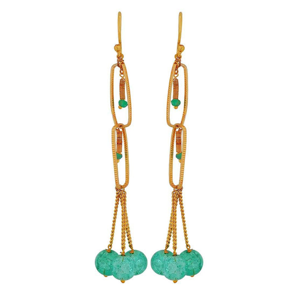 Amazing Green Stone Crystals Get-together Dangler Earrings - MCHUJE4JY137
