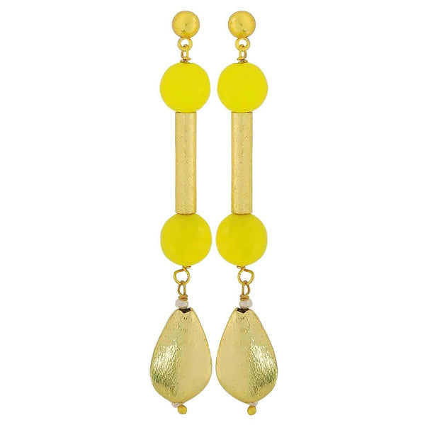 Cute Yellow Gold Designer College Drop Earrings - MCHUJE4JY139