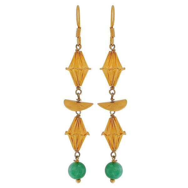 Sexy Green Gold Designer College Dangler Earrings - MCHUJE4JY149