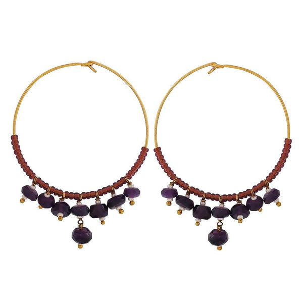 Terrific Blue Brown Stone Crystals Get-together Hoop Earrings - MCHUJE4JY152