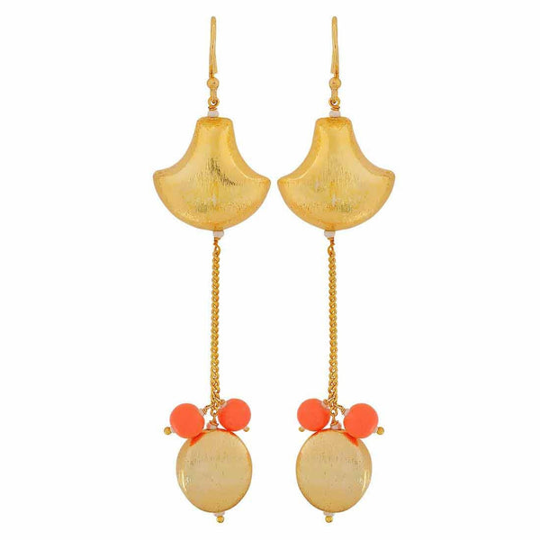 Sizzling Gold Orange Contemporary Get-together Dangler Earrings - MCHUJE4JY157