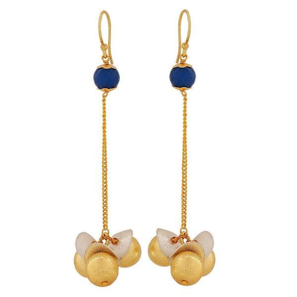 Shining Blue Gold Contemporary College Dangler Earrings - MCHUJE4JY159