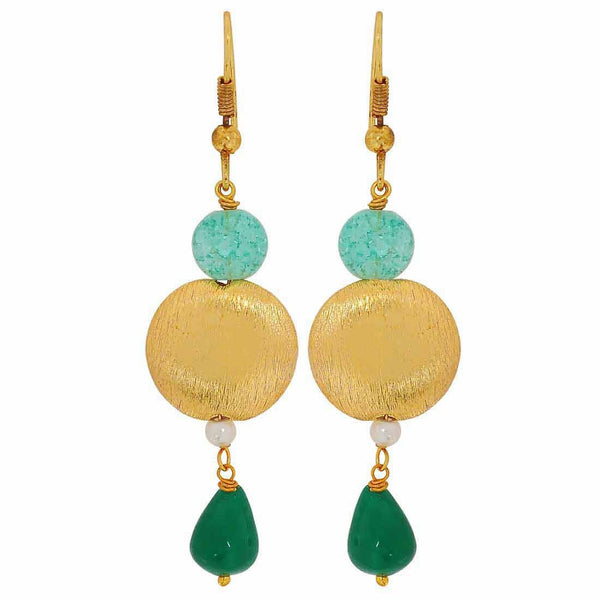 Elegant Green Gold Designer Get-together Dangler Earrings - MCHUJE4JY162