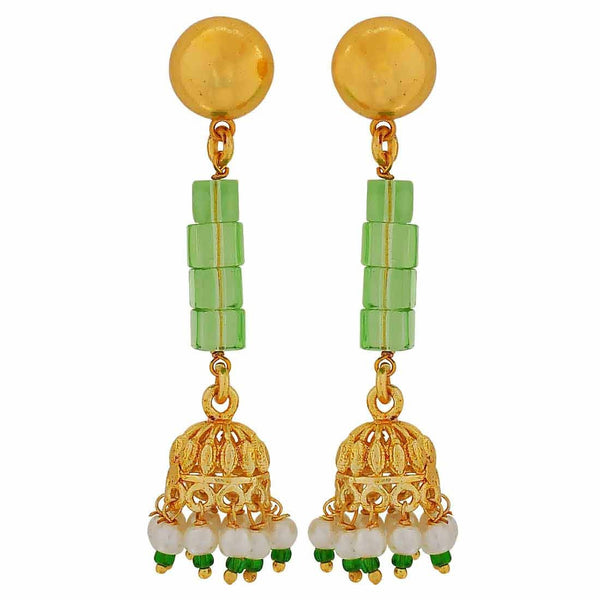 Sparkling Green White Designer College Drop Earrings - MCHUJE4JY164