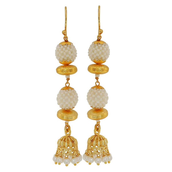Stylish White Gold Pearl Party Dangler Earrings - MCHUJE4JY165