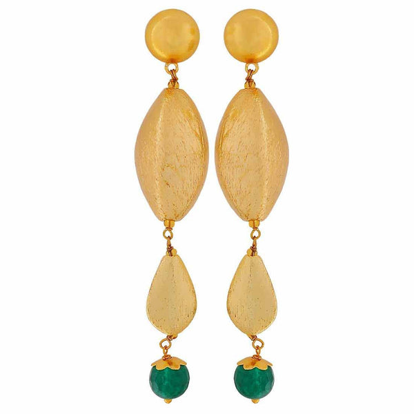 Great Green Gold Designer College Drop Earrings - MCHUJE4JY169