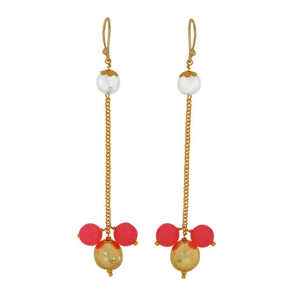 Grand Pink White Designer Reunion Dangler Earrings - MCHUJE4JY173