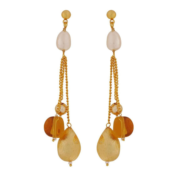 Bright White Yellow Designer Get-together Drop Earrings - MCHUJE4JY177