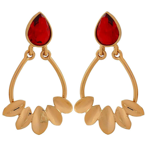Designer Leaves Wine Stone Crystals College Drop Earrings - MCHUJE4JY188