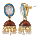 Sober Blue Brown Meenakari Wedding Jhumki Earrings - MCHUJE4JY194