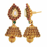 Twisted Wonder Wine Green Indian Ethnic Sangeet Jhumki Earrings - MCHUJE4JY196