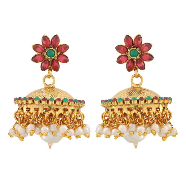 Darling Green Wine Pearl Ceremony Jhumki Earrings - MCHUJE4JY197