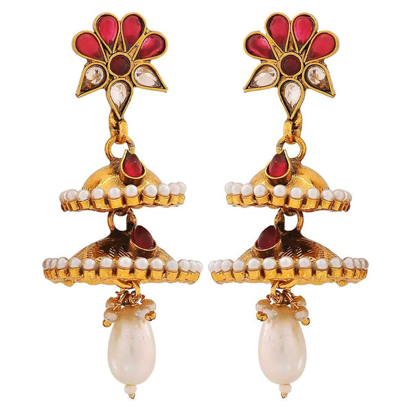 Double Jhumkis Wine White Pearl Ceremony Jhumki Earrings - MCHUJE4JY203