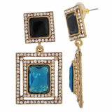 Darling Black Green Stone Crystals Sangeet Drop Earrings - MCHUJE4JY250